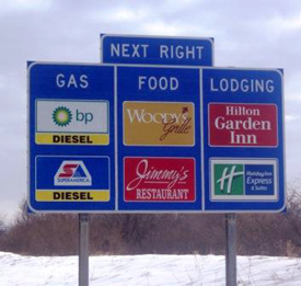 Intersate Lodging Sign